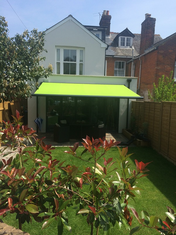 Lime Green Awning Installation