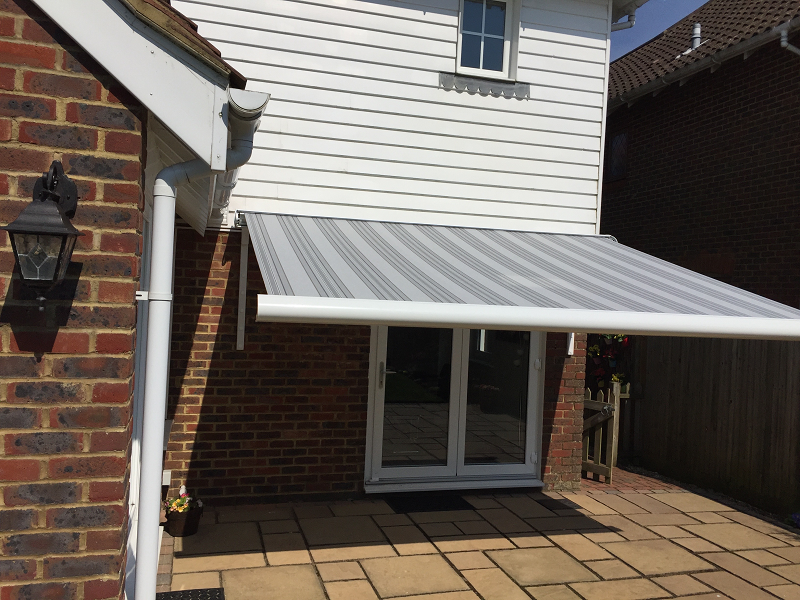 Small Striped Domestic Patio Awning